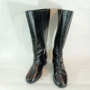 Dover Riding Boots Black Leather Tall Wide Zip-up